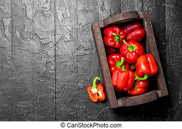 Ripe sweet pepper in the box.