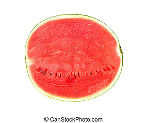 Ripe sweet watermelon isolated on white background, top view