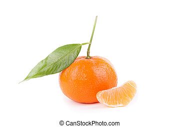 Ripe tangerine on a white background.