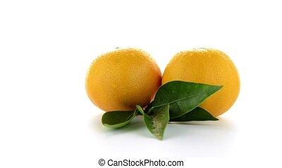Ripe tangerine or mandarin isolated on white background