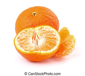 Ripe tangerine with slice