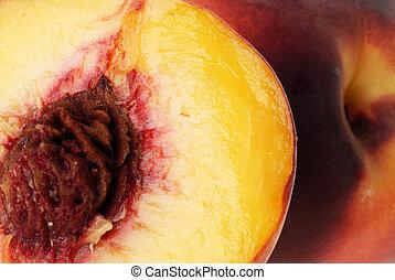 tasty peach -  ripe tasty peach fruits and half.