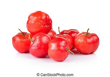 Ripe thai cherry on white background