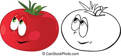 Ripe tomato. Color and contour. Vector Image
