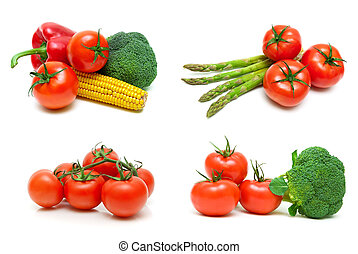 Ripe tomatoes and other vegetables on a white background