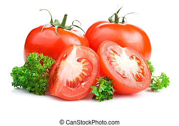 Ripe Tomatoes and parsley leaves on White with Clipping Path