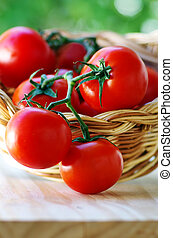 Ripe tomatoes in wooden basket