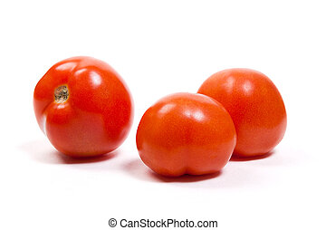 Ripe tomatoes isolated on white