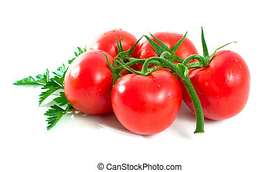 Ripe Tomatoes over white background