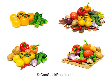 ripe vegetables isolated on white background. horizontal photo.