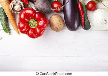 ripe vegetables place for text