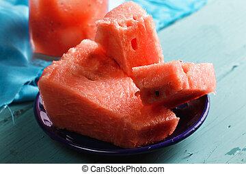 Ripe watermelon closeup