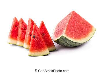 Ripe watermelon on a white background
