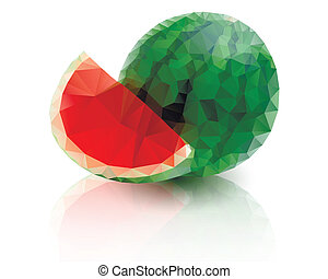 Ripe watermelon with a slice on white background
