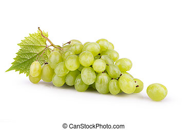 ripe white grapes with leaves