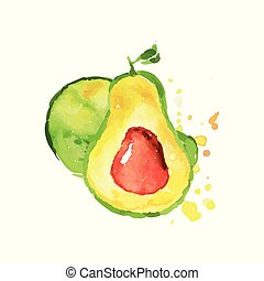 Ripe whole and half of avocado with bone. Tropical hand drawn fruit. Colorful watercolor painting. Natural vegetarian nutrition. Vector design for label or emblem