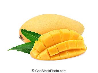 ripe yellow mango fruit with leaves isolated on white background
