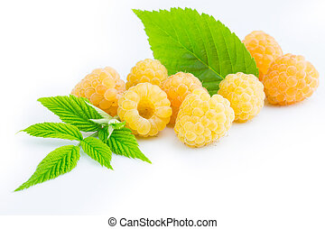 ripe yellow raspberries