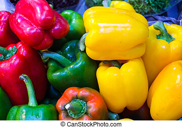 Ripe Yellow, Red and Green Peppers