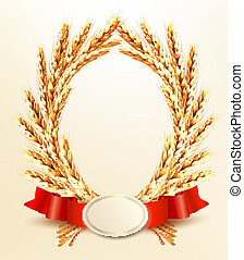 Ripe yellow wheat ears with red ribbons. Vector background