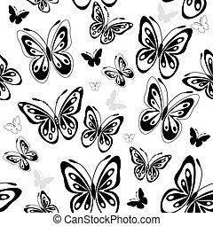 ripetere, bianco, modello, con, farfalle