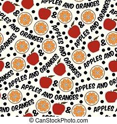ripetere, modello, seamless, arance, vettore, mele, arancia, bianco rosso