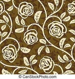 ripetere, rosa, seamless, vettore, modello, fiori
