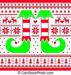 ripetitivo, modello, renna, elfo, seamless, verde, disegno,...