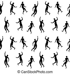 ripetuto, ornamento, persone, ballo, silhouette
