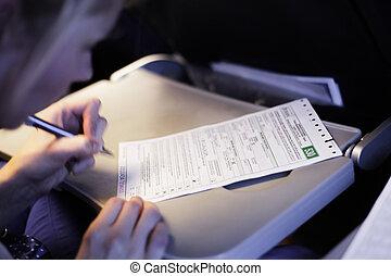 ripieno, donna, documento, aeroplano