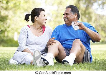 riposare, anziano, secondo, coppia, esercizio