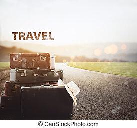 riposare, asfalto, bagaglio