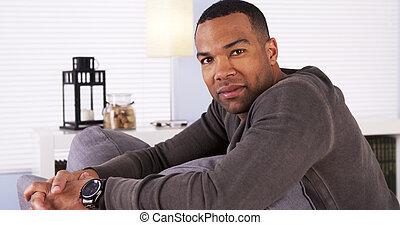 riposare, bello, uomo nero, divano