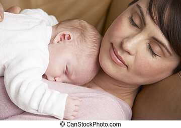 riposare, casa, neonato, madre, bambino, ritratto
