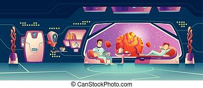 riposare, clienti, stanza, spazio, albergo, vettore, cartone animato