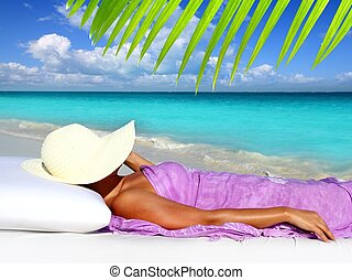 riposare, donna, caraibico, turista, cappello, spiaggia