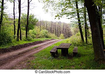 riposare, legno, posto