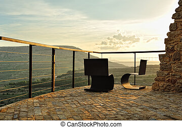 riposare, montagna, time., posto, tramonto, vista.
