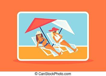riposare, pieno, prendere il sole, estate, sole, coppia, loungers, ragazze, vacanza, ricorso, bikini, lusso, lunghezza, orizzontale, donne