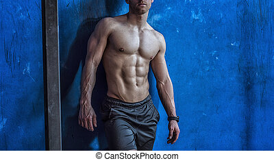 riposare, shirtless, giovane, muscolare, palestra, uomo