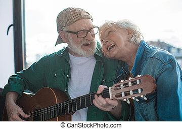 riposare, vecchio, coppia, sposato, insieme, charmant, chitarra, casa