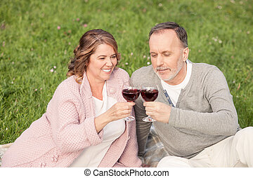 riposare, vecchio, natura, coppia, sposato, allegro
