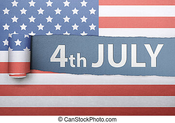 Ripped american flag paper with Fourth 4th of July greetings