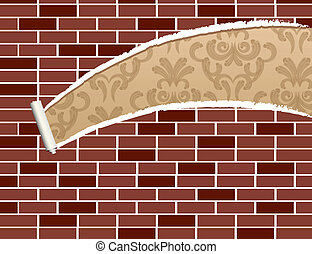 Ripped brick wall