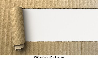 Ripped cardboard, 3d image