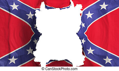 Ripped Confederate flying flag