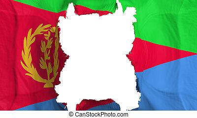 Ripped Eritrea flying flag, over white background, 3d rendering