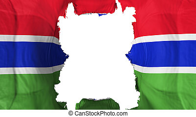 Ripped Gambia flying flag