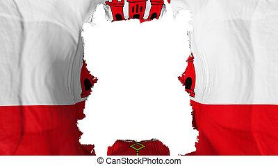 Ripped Gibraltar flying flag, over white background, 3d rendering