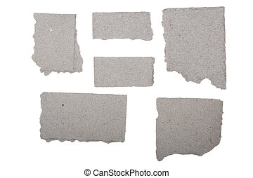 ripped  grey crumpled pieces of cardboard isolated on white